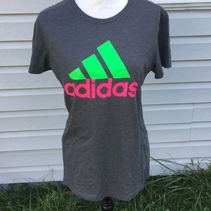Adidas the Go to Tee Gray and Pink T-shirt
